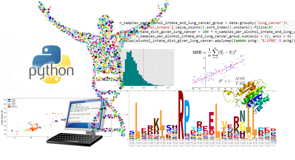 this image shows a python logo and graphs of different genetic data as an example of what can be learned in a quantitative biological research course